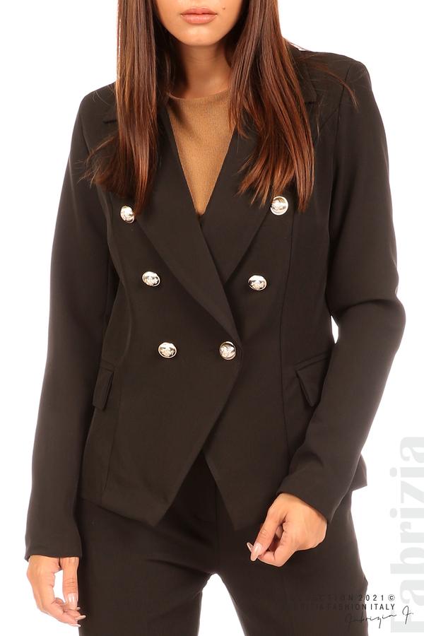 Едноцветно сако с двуредно закопчаване черен 2 fabrizia