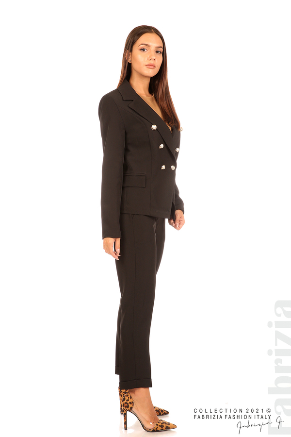 Едноцветно сако с двуредно закопчаване черен 3 fabrizia