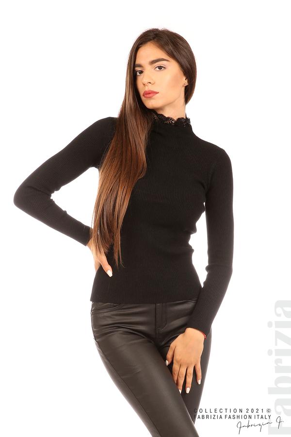 Рипсена блуза с дантела на бието черен 3 fabrizia
