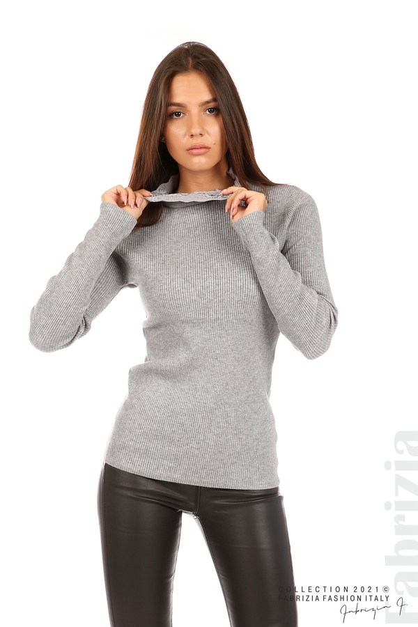 Рипсена блуза с дантела на бието сив 1 fabrizia