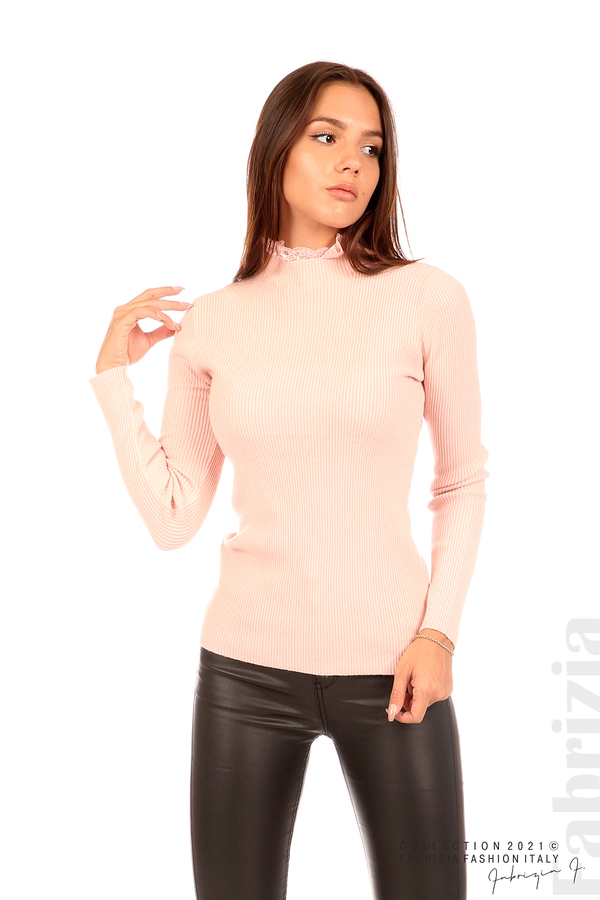 Рипсена блуза с дантела на бието розов 4 fabrizia