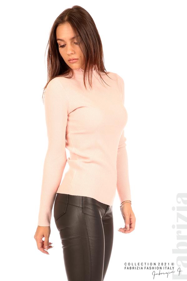 Рипсена блуза с дантела на бието розов 2 fabrizia