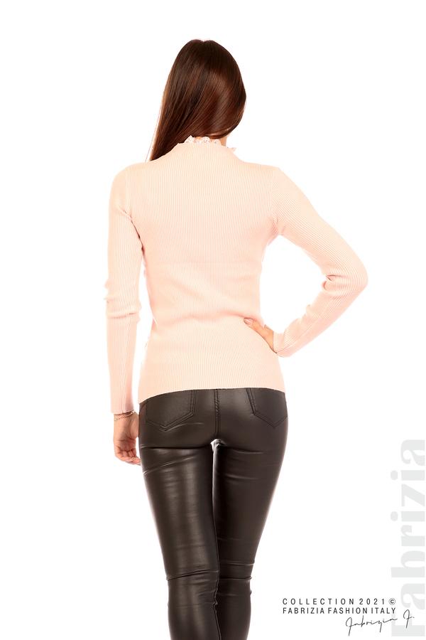 Рипсена блуза с дантела на бието розов 6 fabrizia
