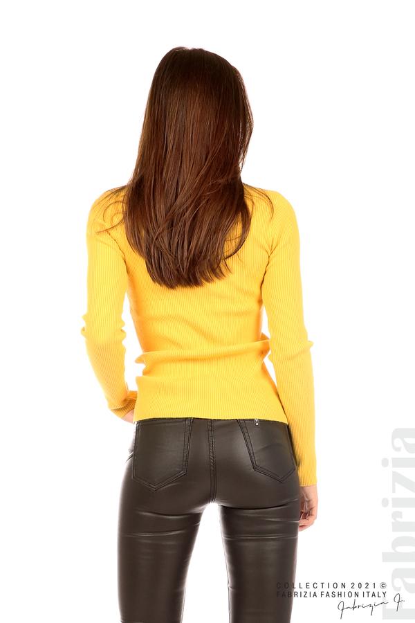 Рипсена блуза с дантела на бието жълт 6 fabrizia