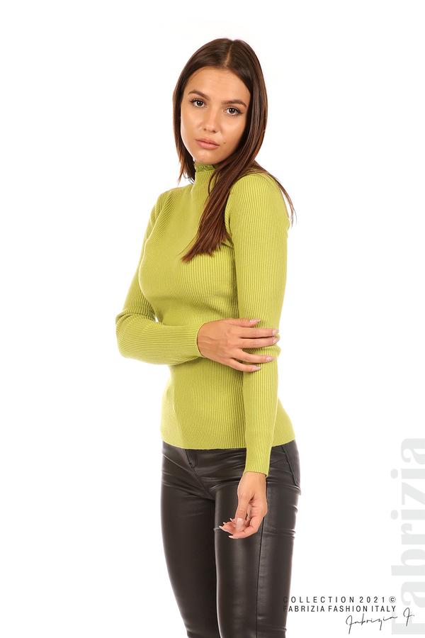 Рипсена блуза с дантела на бието тр.зелен 4 fabrizia