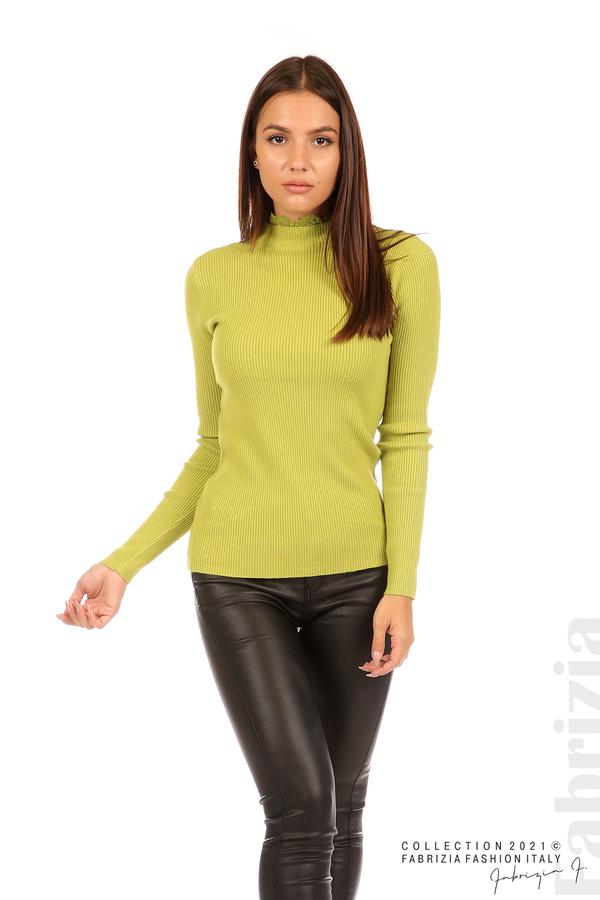 Рипсена блуза с дантела на бието тр.зелен 3 fabrizia