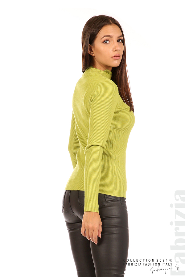 Рипсена блуза с дантела на бието тр.зелен 5 fabrizia