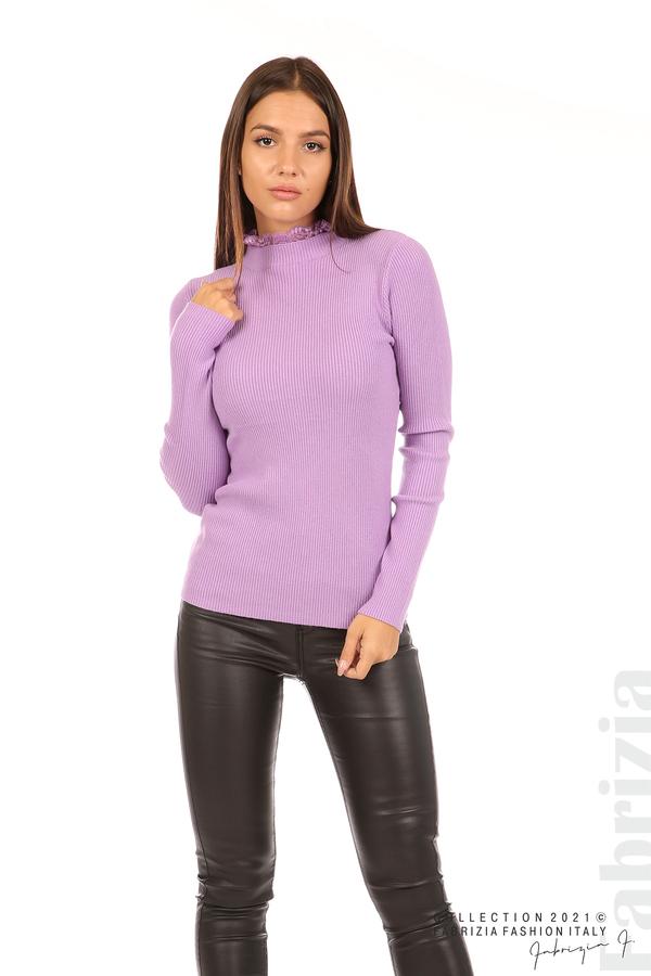 Рипсена блуза с дантела на бието лилав 3 fabrizia