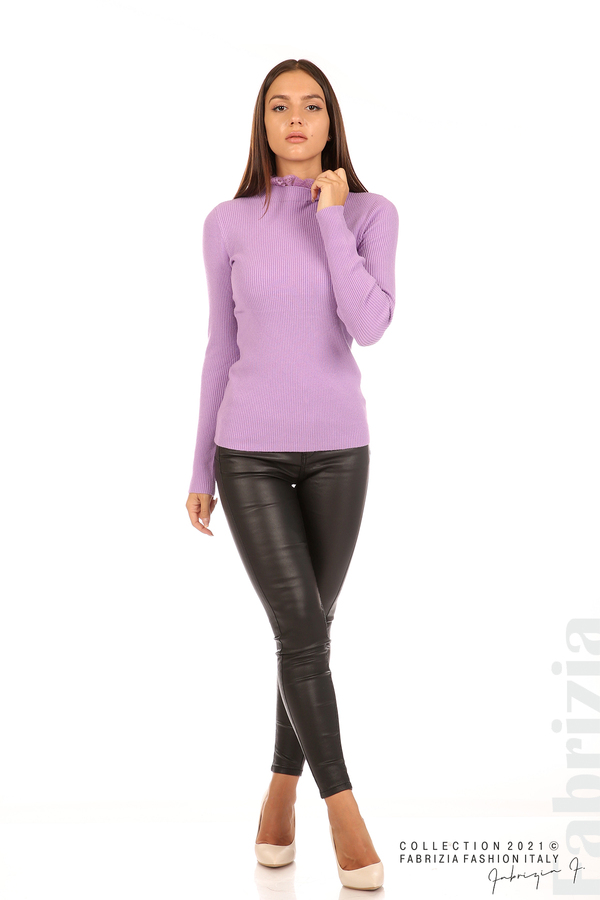 Рипсена блуза с дантела на бието лилав 4 fabrizia