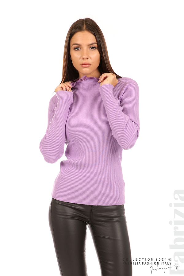 Рипсена блуза с дантела на бието тр.зелен 1 fabrizia