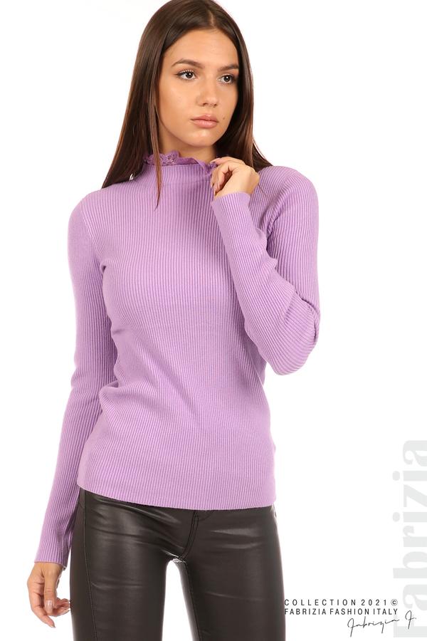 Рипсена блуза с дантела на бието лилав 2 fabrizia