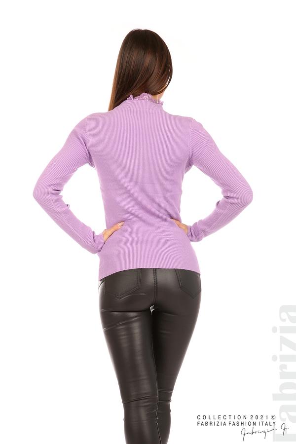 Рипсена блуза с дантела на бието лилав 6 fabrizia