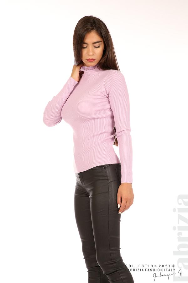 Рипсена блуза с дантела на бието св.лилав 4 fabrizia