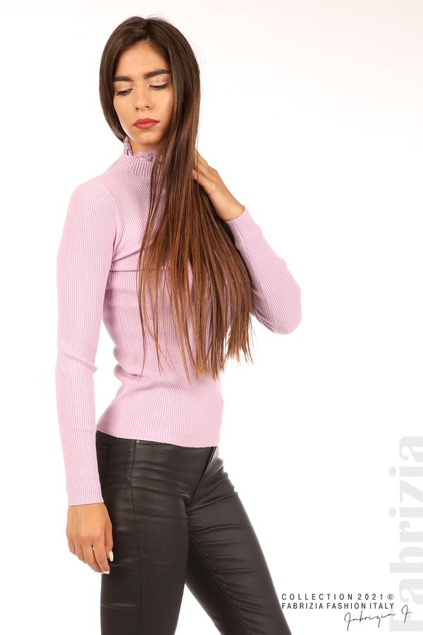 Рипсена блуза с дантела на бието св.лилав 5 fabrizia
