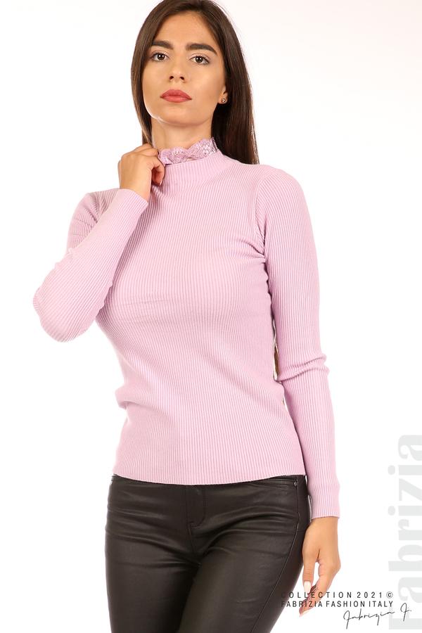 Рипсена блуза с дантела на бието св.лилав 2 fabrizia