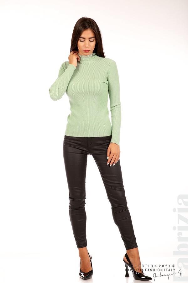 Рипсена блуза с дантела на бието бл.зелен 3 fabrizia