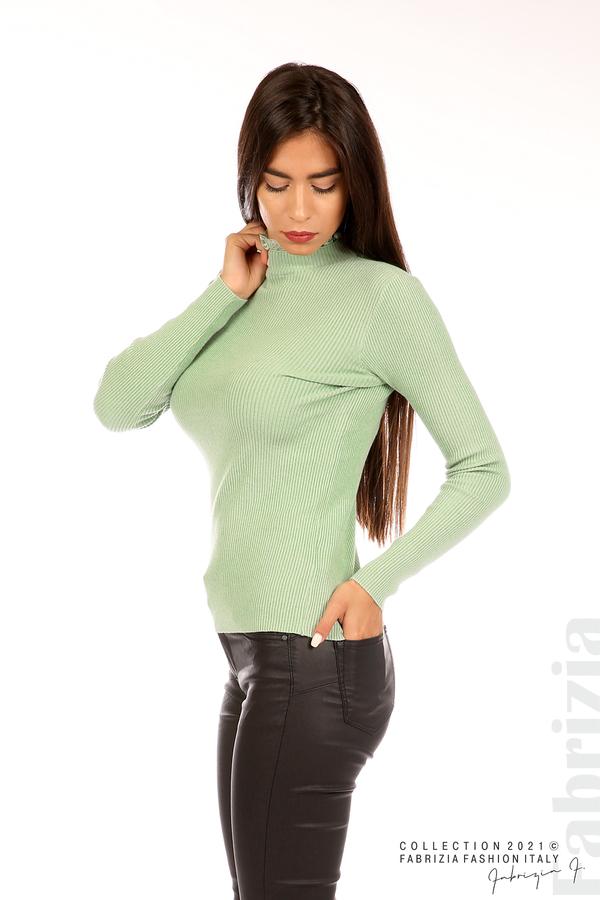 Рипсена блуза с дантела на бието бл.зелен 4 fabrizia