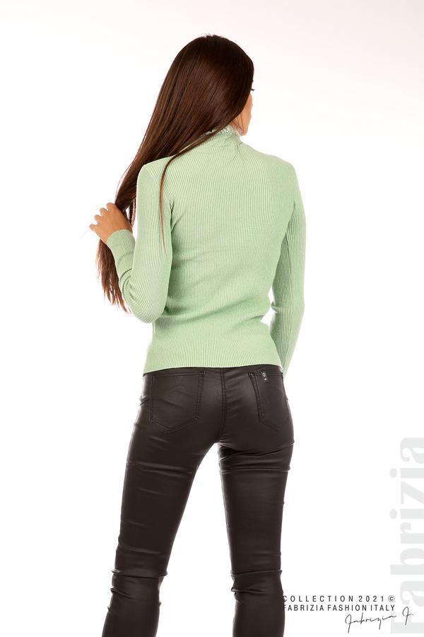 Рипсена блуза с дантела на бието бл.зелен 6 fabrizia