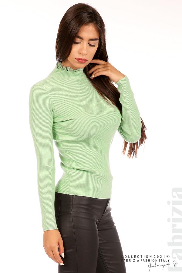 Рипсена блуза с дантела на бието бл.зелен 2 fabrizia