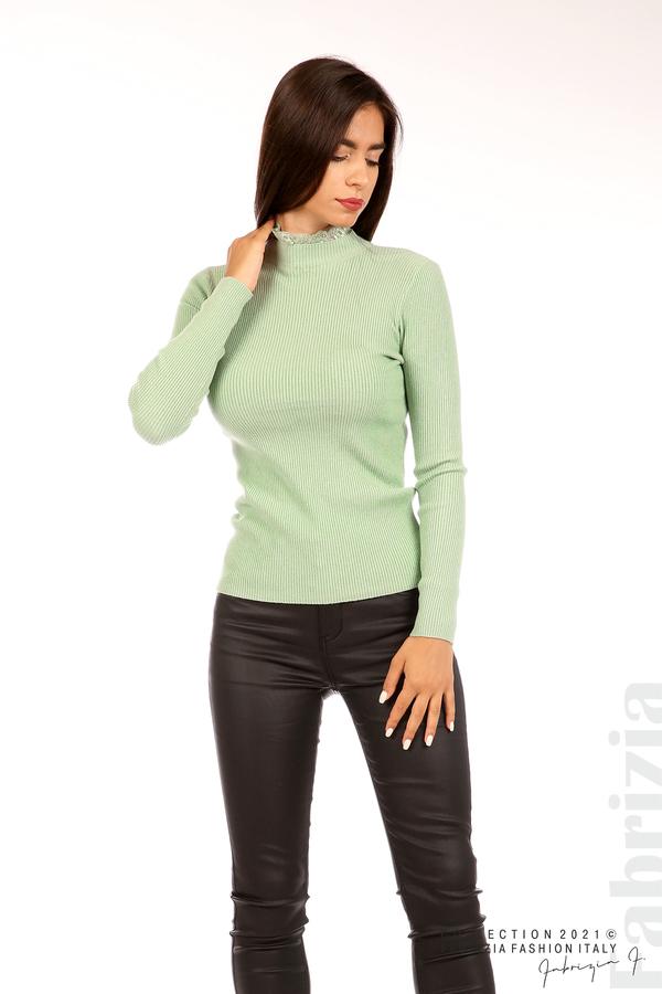 Рипсена блуза с дантела на бието бл.зелен 5 fabrizia