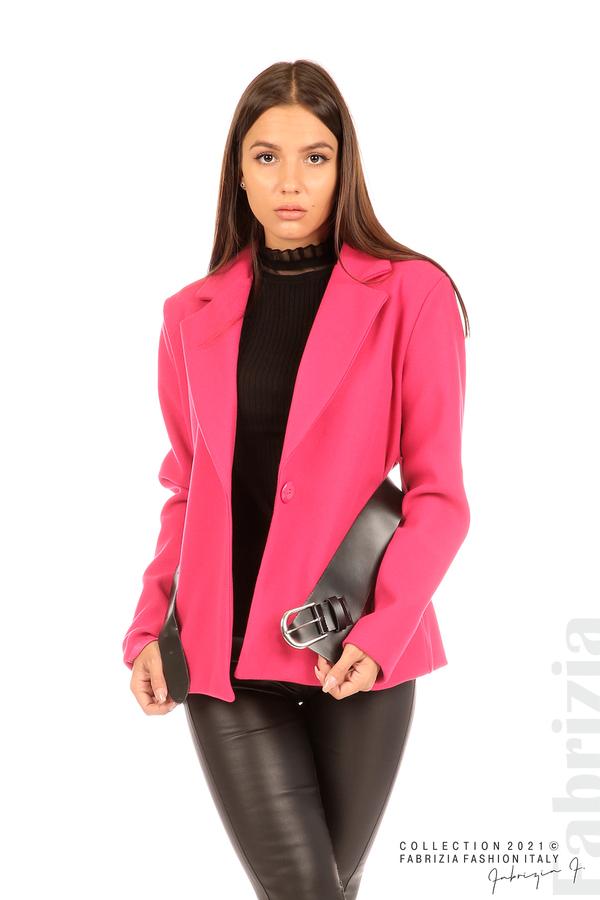 Късо едноцветно палто с колан циклама 2 fabrizia