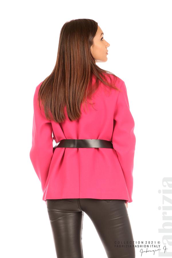 Късо едноцветно палто с колан циклама 7 fabrizia