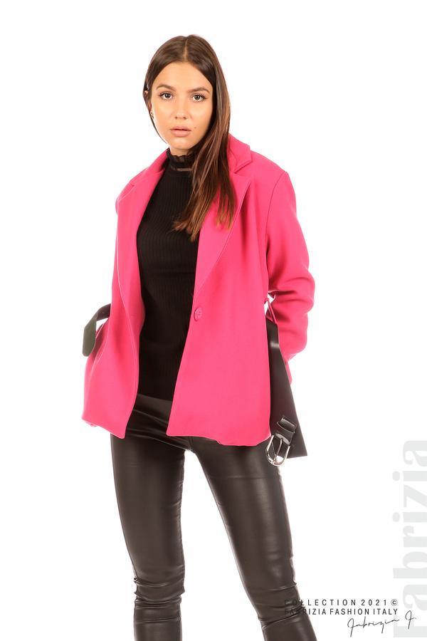 Късо едноцветно палто с колан циклама 5 fabrizia