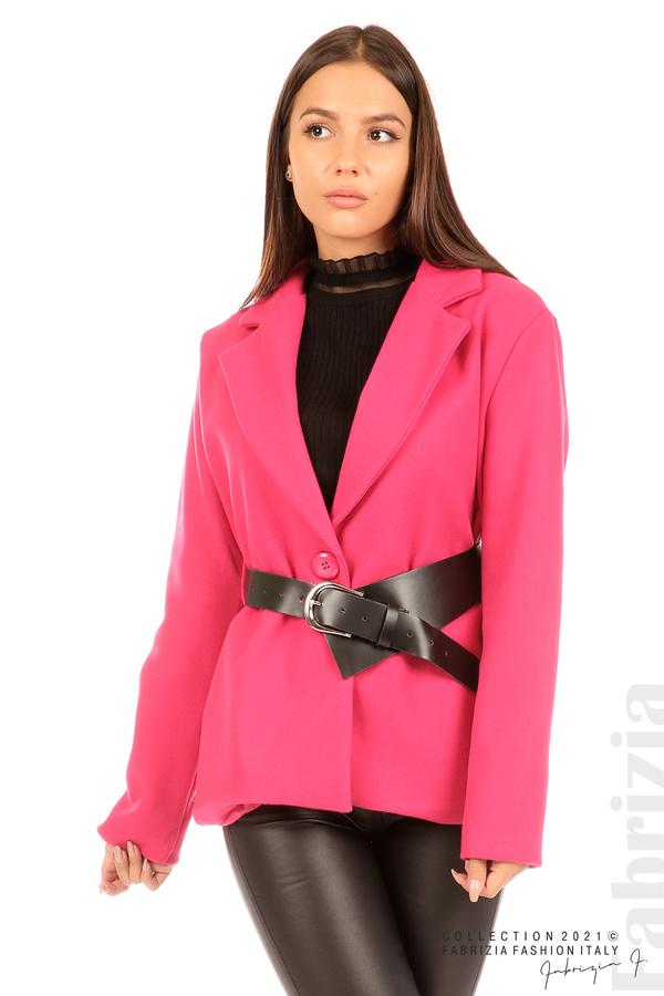 Късо едноцветно палто с колан циклама 4 fabrizia