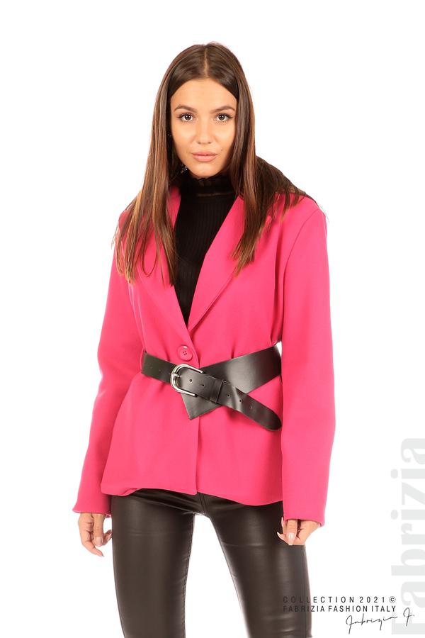Късо едноцветно палто с колан циклама 1 fabrizia