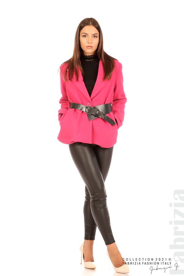 Късо едноцветно палто с колан циклама 3 fabrizia