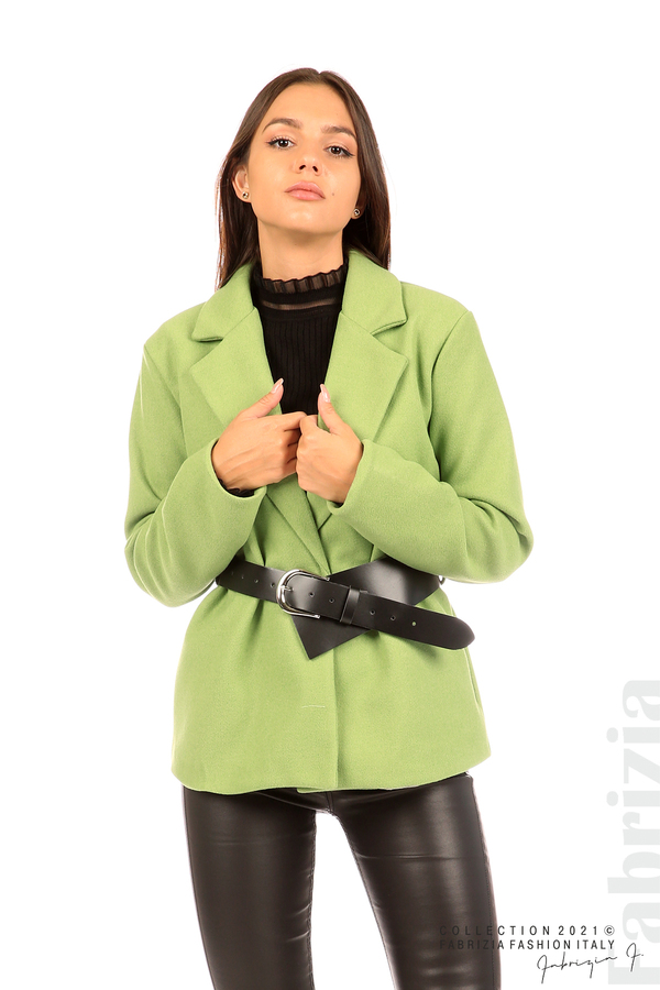 Късо едноцветно палто с колан киви 3 fabrizia