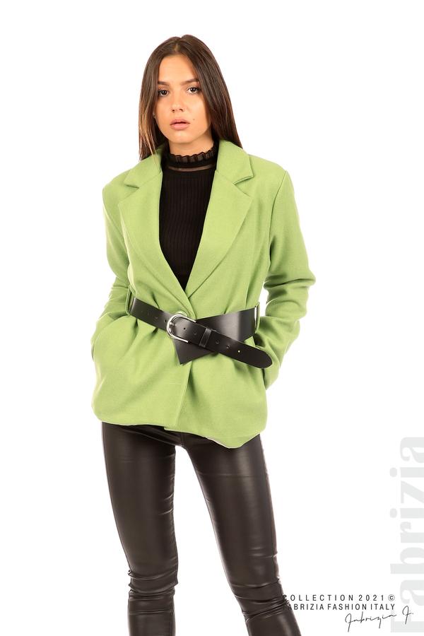 Късо едноцветно палто с колан киви 4 fabrizia