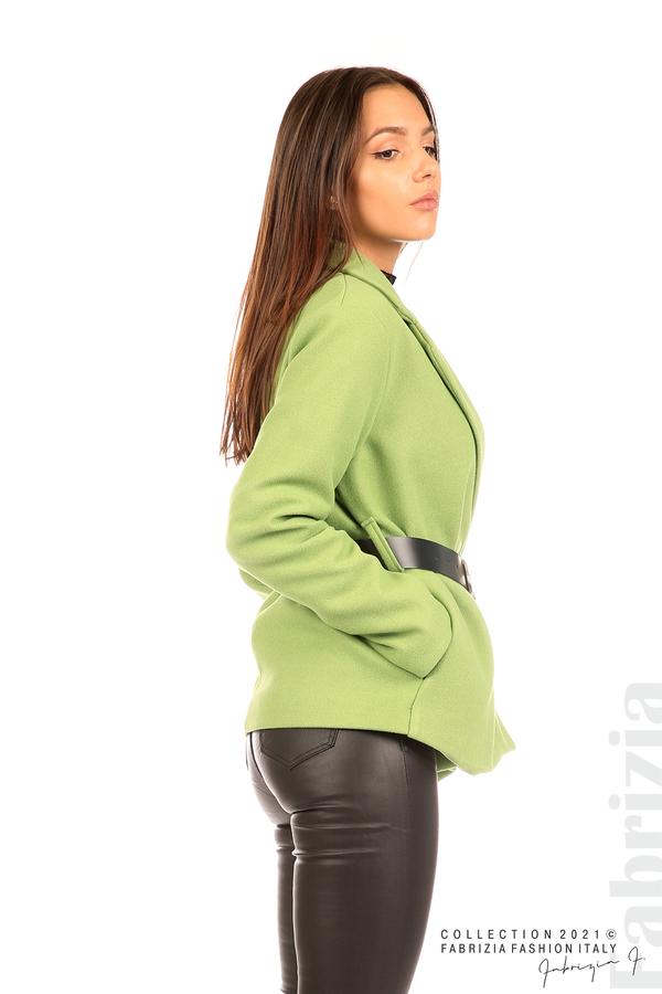 Късо едноцветно палто с колан киви 5 fabrizia
