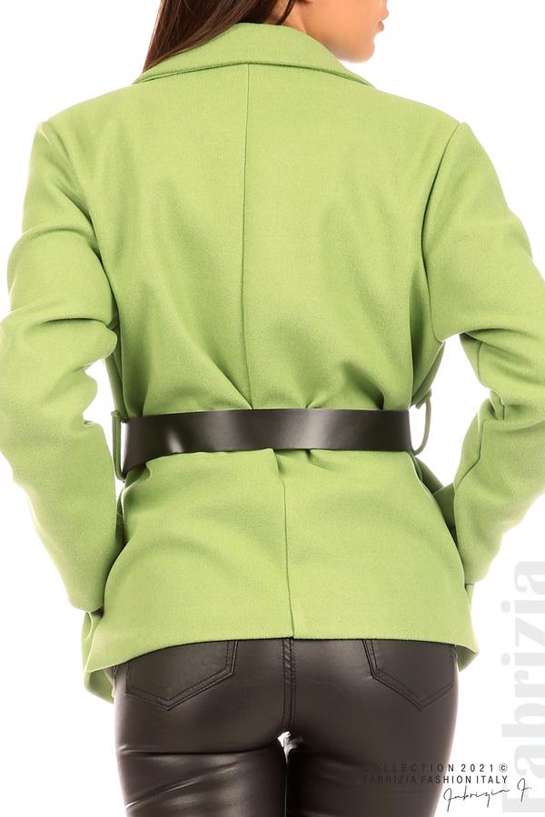 Късо едноцветно палто с колан киви 7 fabrizia