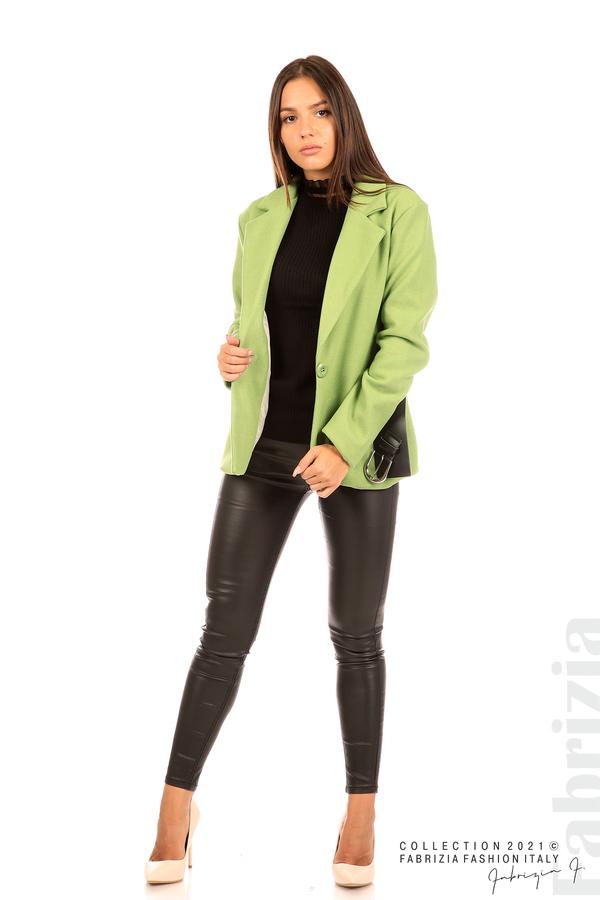 Късо едноцветно палто с колан киви 6 fabrizia