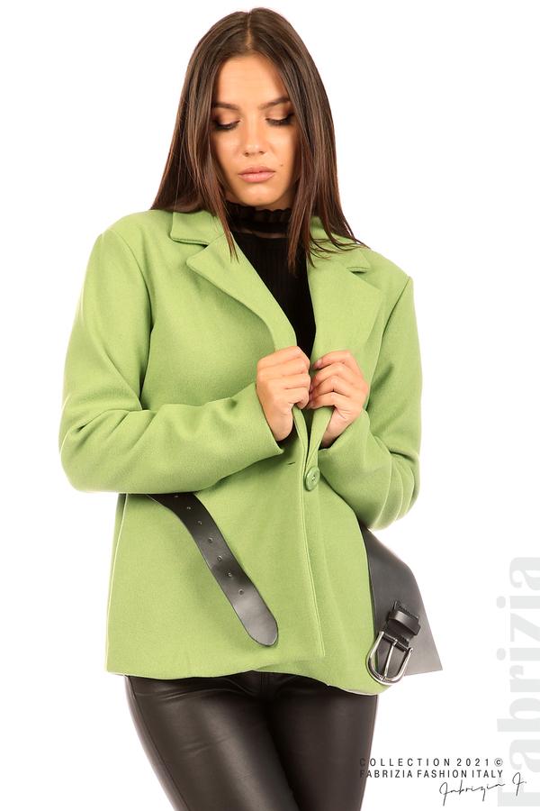 Късо едноцветно палто с колан киви 2 fabrizia