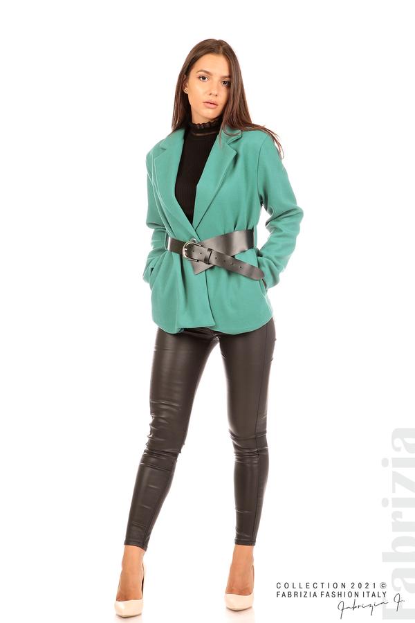 Късо едноцветно палто с колан аква 3 fabrizia