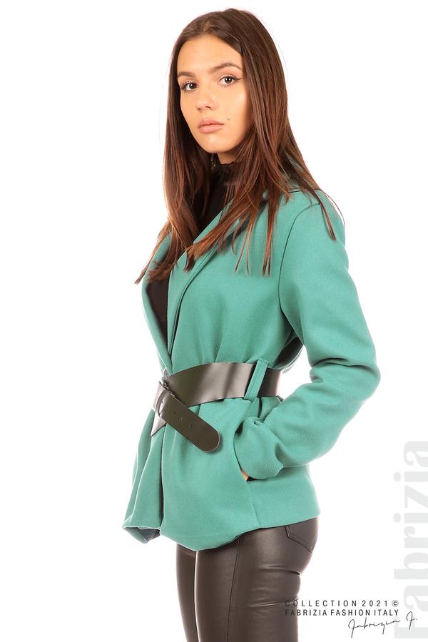 Късо едноцветно палто с колан аква 2 fabrizia