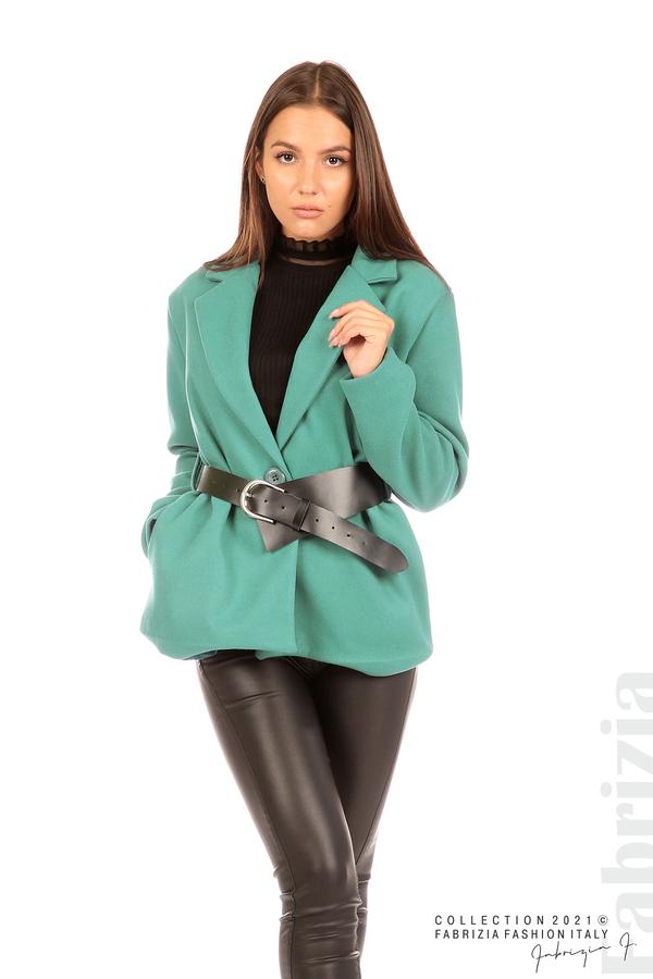 Късо едноцветно палто с колан аква 4 fabrizia