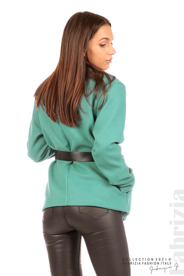 Късо едноцветно палто с колан аква 6 fabrizia