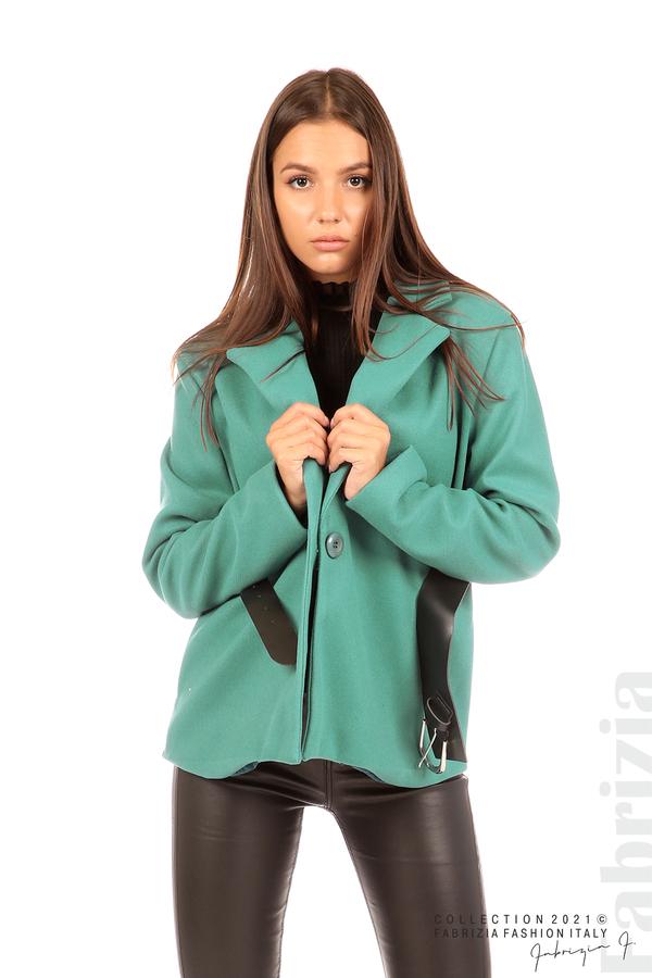 Късо едноцветно палто с колан аква 1 fabrizia