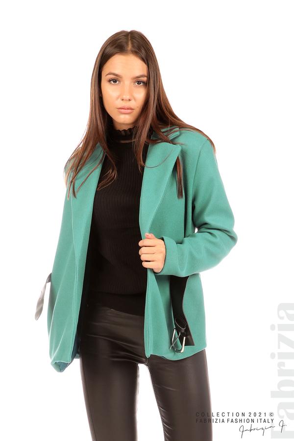 Късо едноцветно палто с колан аква 5 fabrizia
