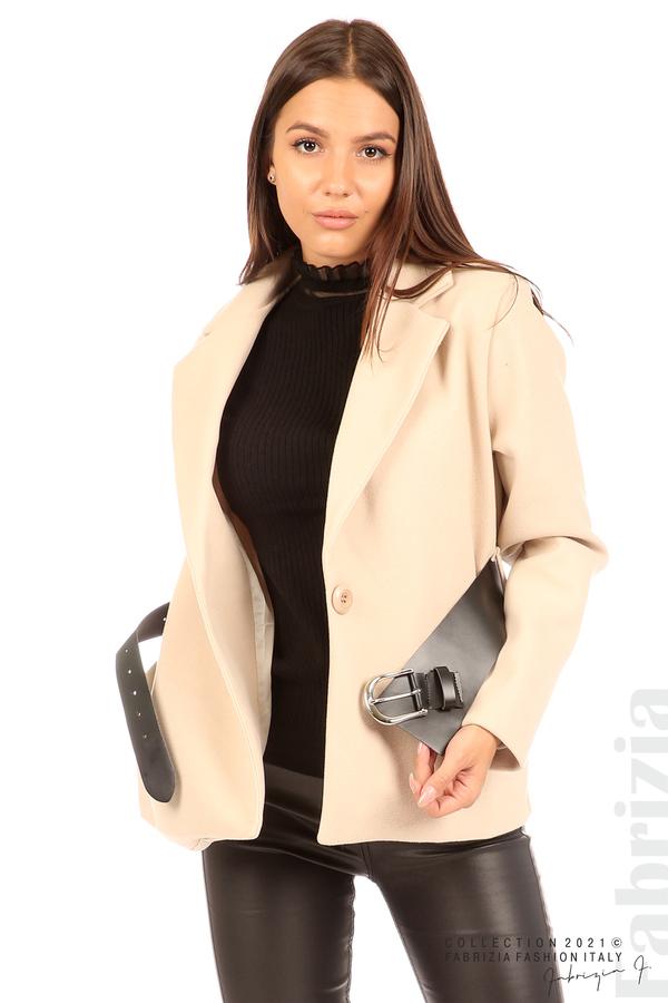 Късо едноцветно палто с колан бежов 5 fabrizia