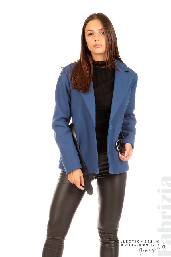 Късо едноцветно палто с колан киви 1 fabrizia