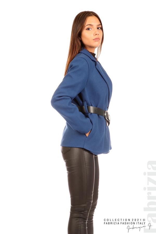 Късо едноцветно палто с колан т.син 5 fabrizia