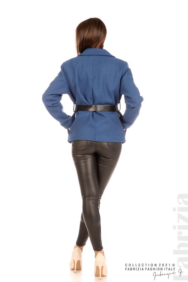 Късо едноцветно палто с колан т.син 6 fabrizia