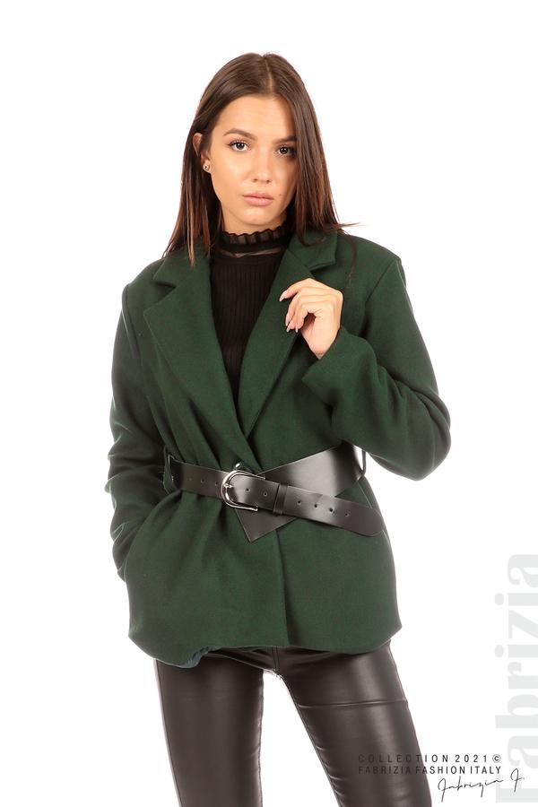 Късо едноцветно палто с колан т.зелен 5 fabrizia