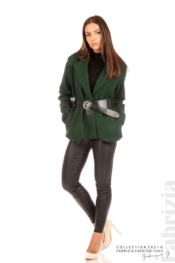 Късо едноцветно палто с колан т.зелен 3 fabrizia