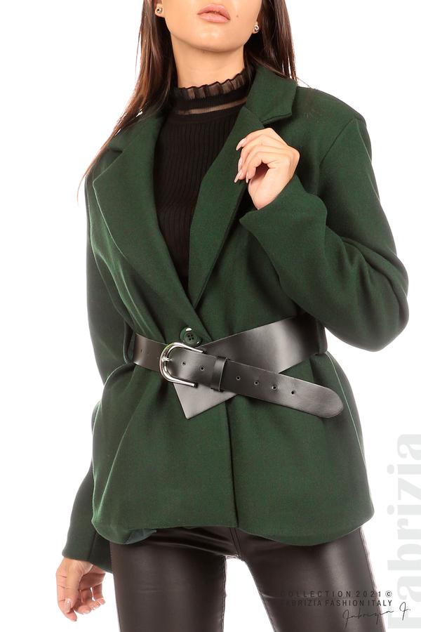 Късо едноцветно палто с колан т.зелен 2 fabrizia