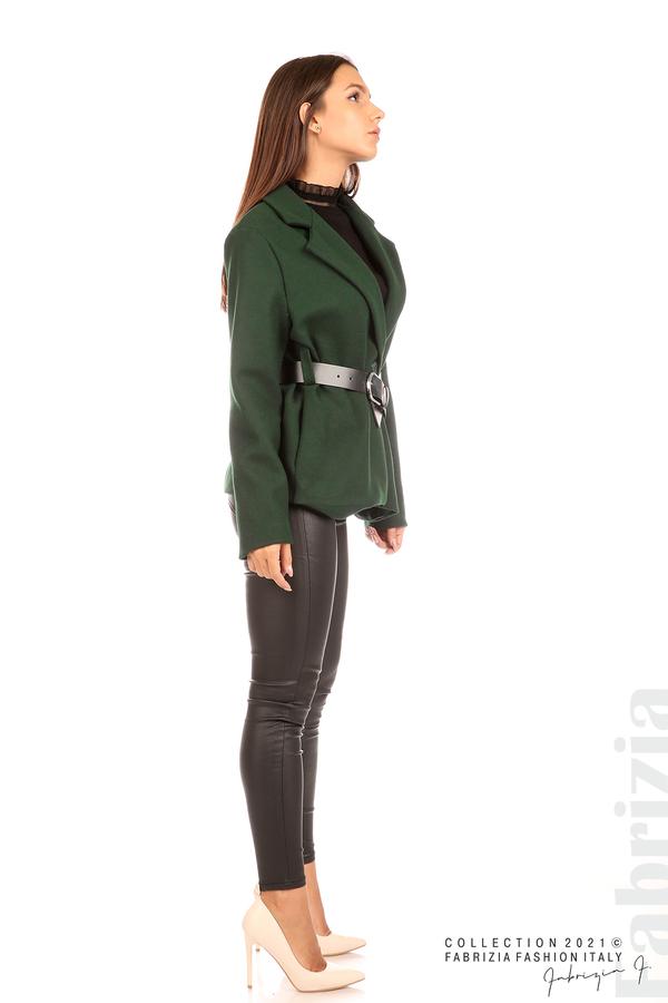 Късо едноцветно палто с колан т.зелен 6 fabrizia